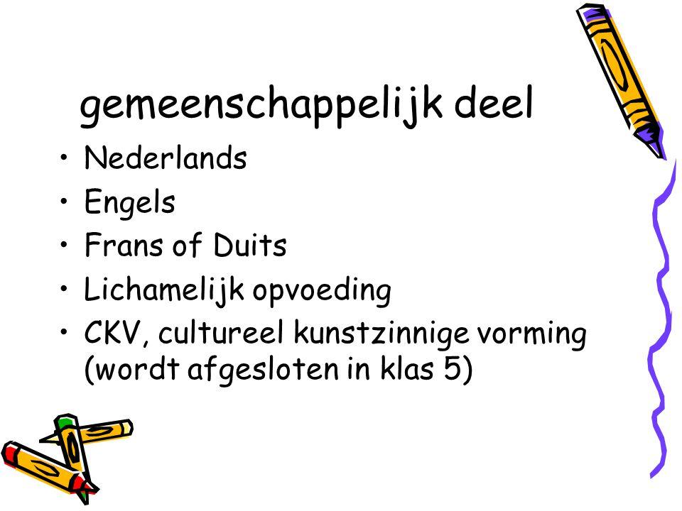 gemeenschappelijk deel Nederlands Engels Frans of Duits Lichamelijk opvoeding CKV, cultureel kunstzinnige vorming (wordt afgesloten in klas 5)