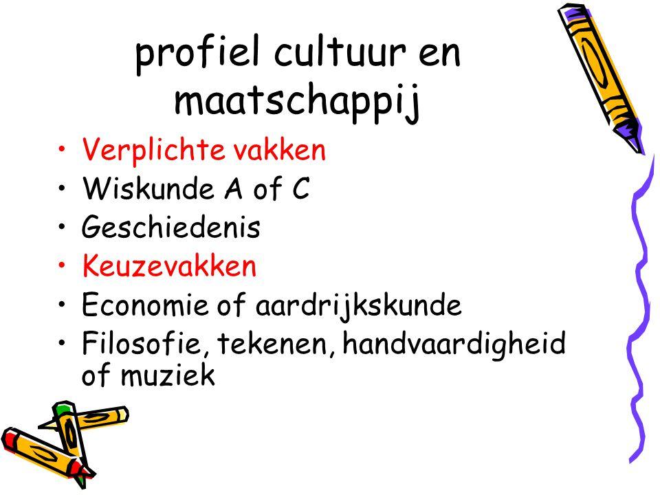 profiel cultuur en maatschappij Verplichte vakken Wiskunde A of C Geschiedenis Keuzevakken Economie of aardrijkskunde Filosofie, tekenen, handvaardigheid of muziek