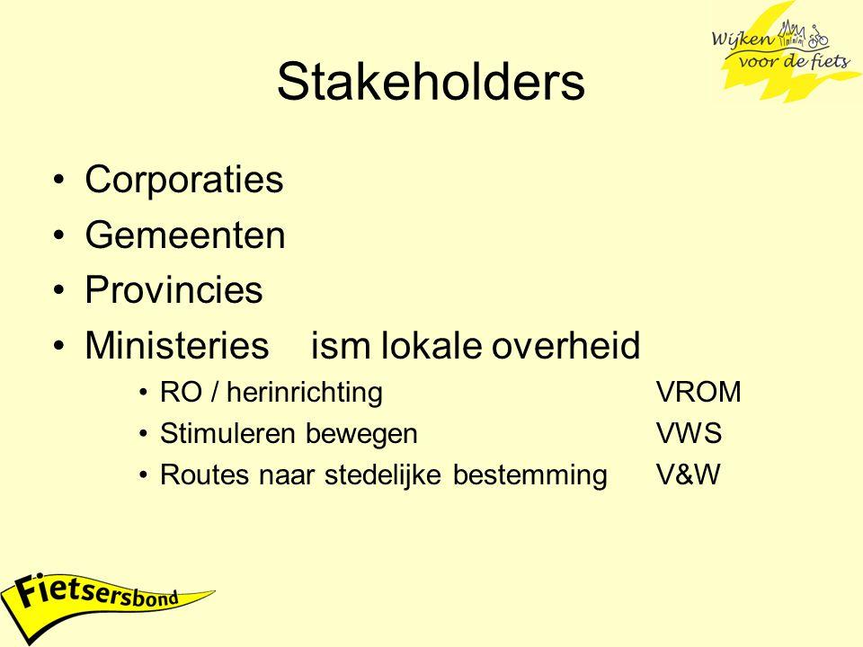 Stakeholders Corporaties Gemeenten Provincies Ministeriesism lokale overheid RO / herinrichtingVROM Stimuleren bewegenVWS Routes naar stedelijke beste