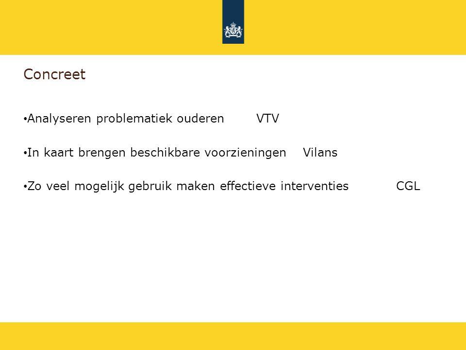 Concreet Analyseren problematiek ouderenVTV In kaart brengen beschikbare voorzieningenVilans Zo veel mogelijk gebruik maken effectieve interventiesCGL