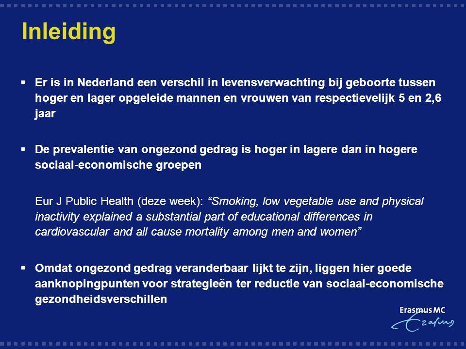 Inleiding  Er is in Nederland een verschil in levensverwachting bij geboorte tussen hoger en lager opgeleide mannen en vrouwen van respectievelijk 5