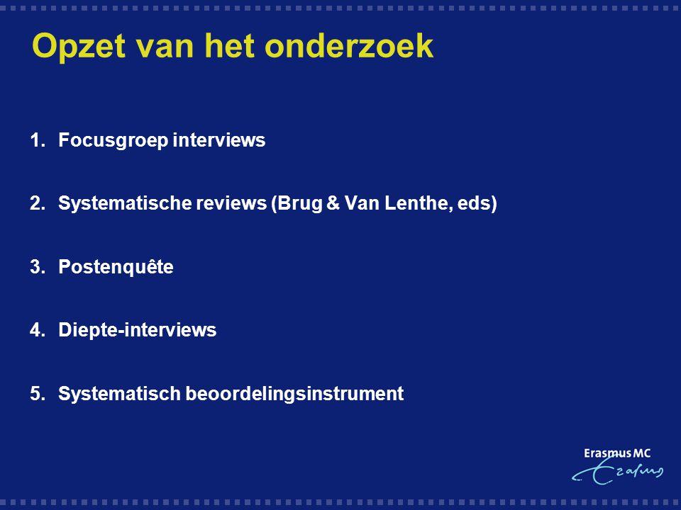 Opzet van het onderzoek 1.Focusgroep interviews 2.Systematische reviews (Brug & Van Lenthe, eds) 3.Postenquête 4.Diepte-interviews 5.Systematisch beoo