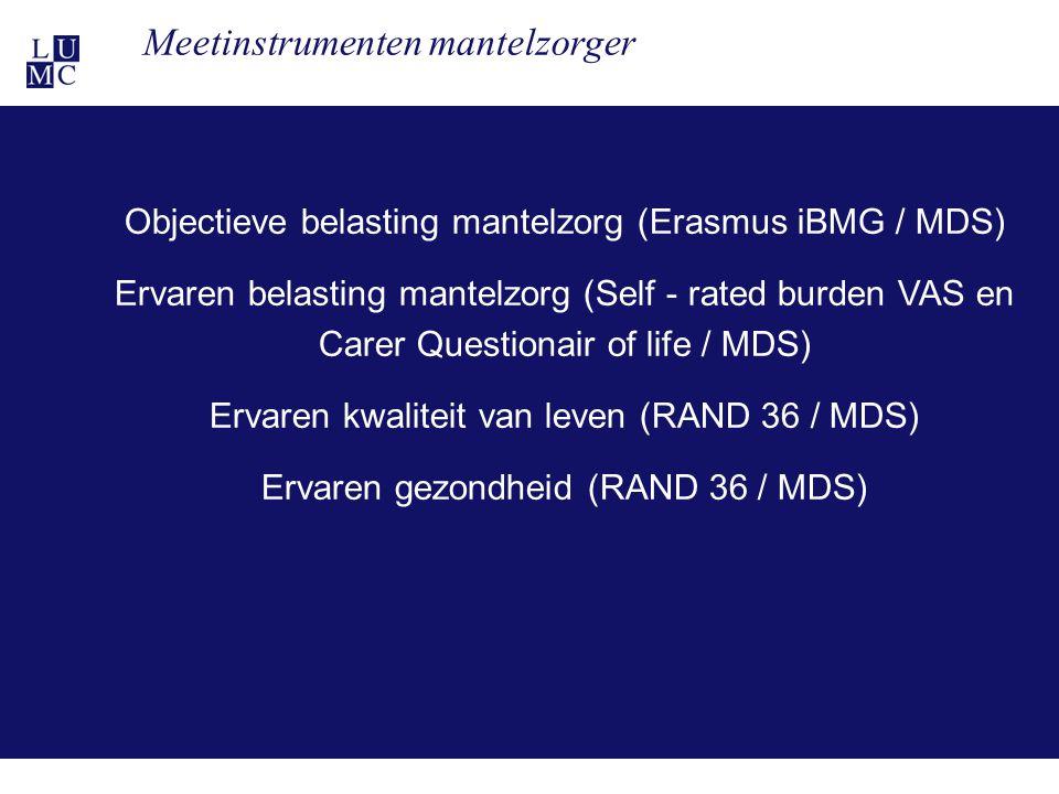 21-11-1124 Meetinstrumenten mantelzorger Objectieve belasting mantelzorg (Erasmus iBMG / MDS) Ervaren belasting mantelzorg (Self - rated burden VAS en