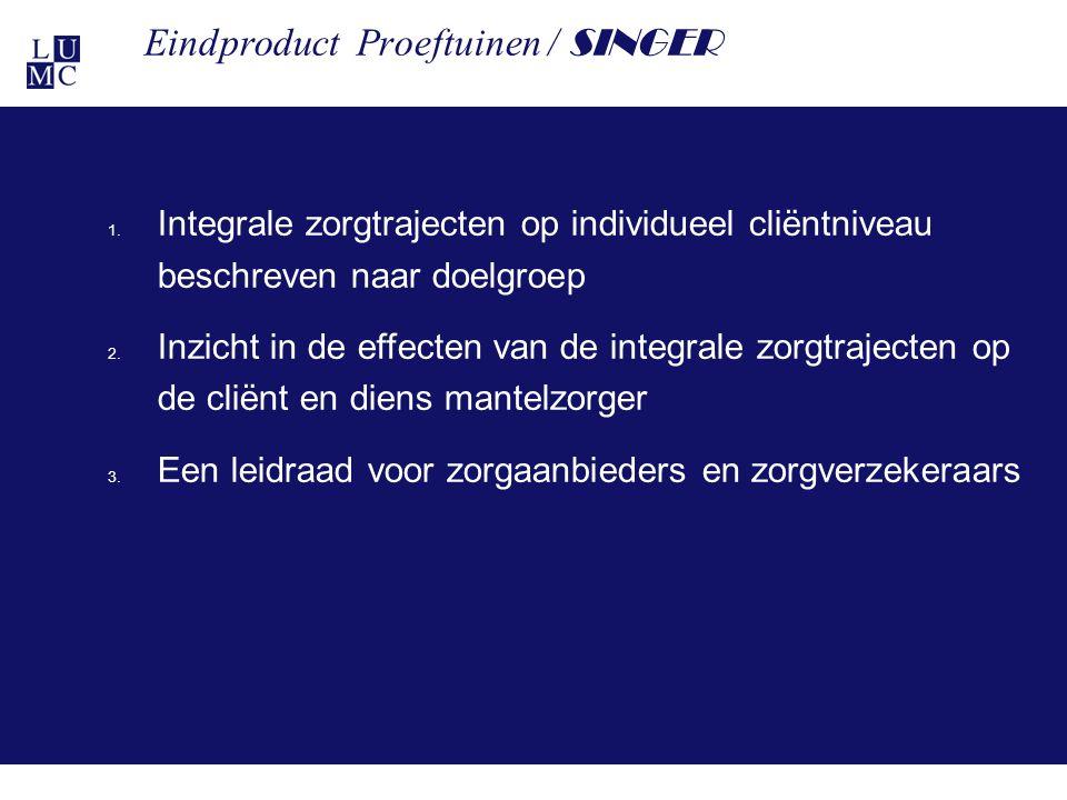 21-11-1125 Eindproduct Proeftuinen / SINGER 1. Integrale zorgtrajecten op individueel cliëntniveau beschreven naar doelgroep 2. Inzicht in de effecten