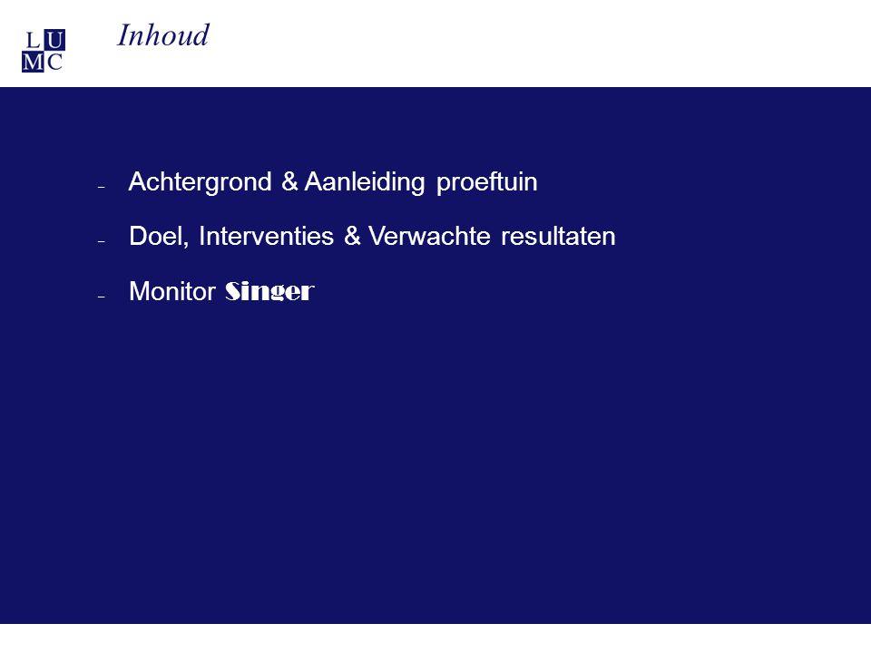 21-11-113 – Achtergrond & Aanleiding proeftuin – Doel, Interventies & Verwachte resultaten – Monitor Singer Inhoud