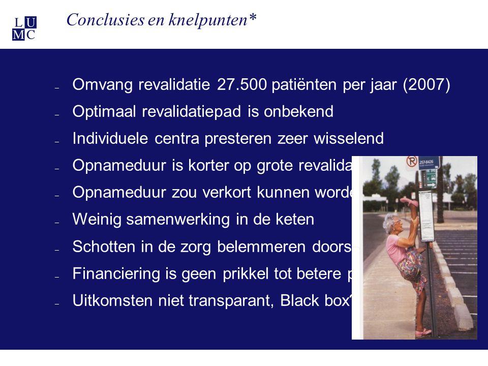 21-11-116 Conclusies en knelpunten* – Omvang revalidatie 27.500 patiënten per jaar (2007) – Optimaal revalidatiepad is onbekend – Individuele centra p