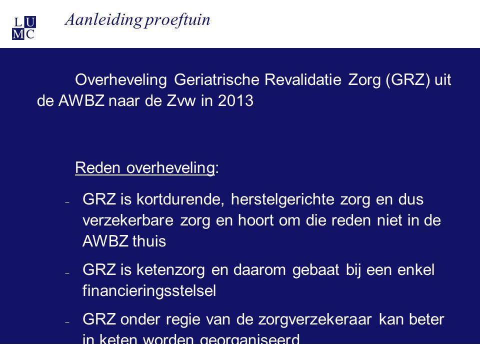 21-11-117 Aanleiding proeftuin Overheveling Geriatrische Revalidatie Zorg (GRZ) uit de AWBZ naar de Zvw in 2013 Reden overheveling: – GRZ is kortduren