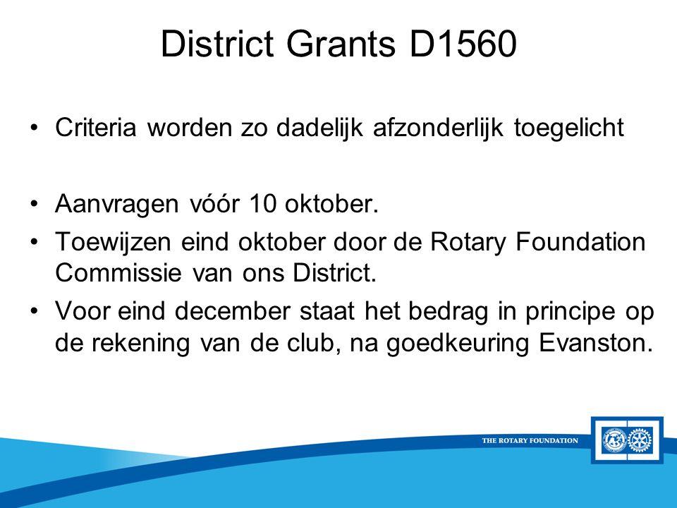 District Rotary Foundation Seminar District Grants D1560 Criteria worden zo dadelijk afzonderlijk toegelicht Aanvragen vóór 10 oktober. Toewijzen eind