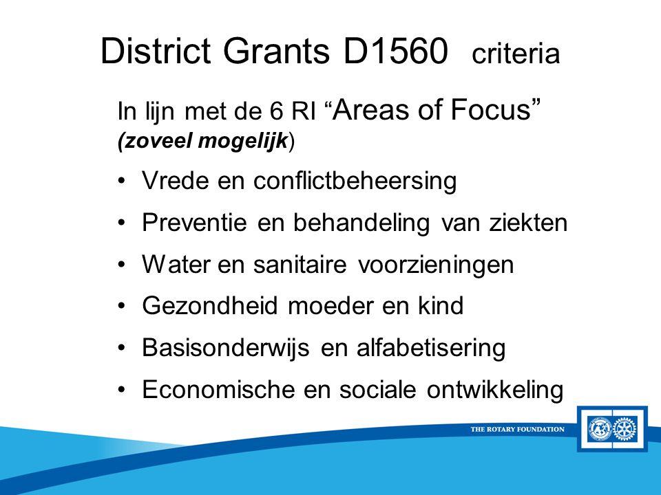 """District Rotary Foundation Seminar District Grants D1560 criteria In lijn met de 6 RI """" Areas of Focus"""" (zoveel mogelijk) Vrede en conflictbeheersing"""
