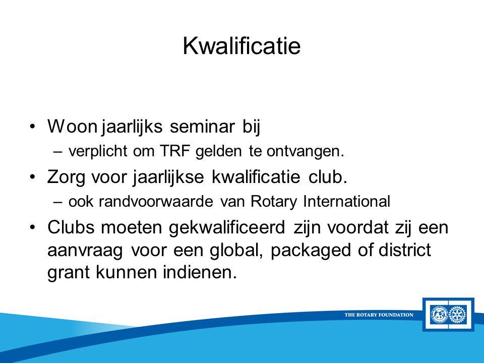 District Rotary Foundation Seminar Kwalificatie Woon jaarlijks seminar bij –verplicht om TRF gelden te ontvangen. Zorg voor jaarlijkse kwalificatie cl