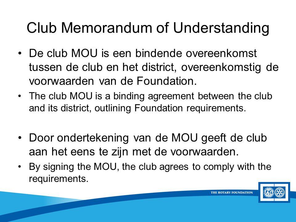 District Rotary Foundation Seminar Club Memorandum of Understanding De club MOU is een bindende overeenkomst tussen de club en het district, overeenko