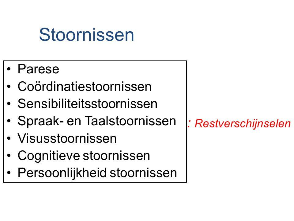 Stoornissen : Restverschijnselen Parese Coördinatiestoornissen Sensibiliteitsstoornissen Spraak- en Taalstoornissen Visusstoornissen Cognitieve stoorn