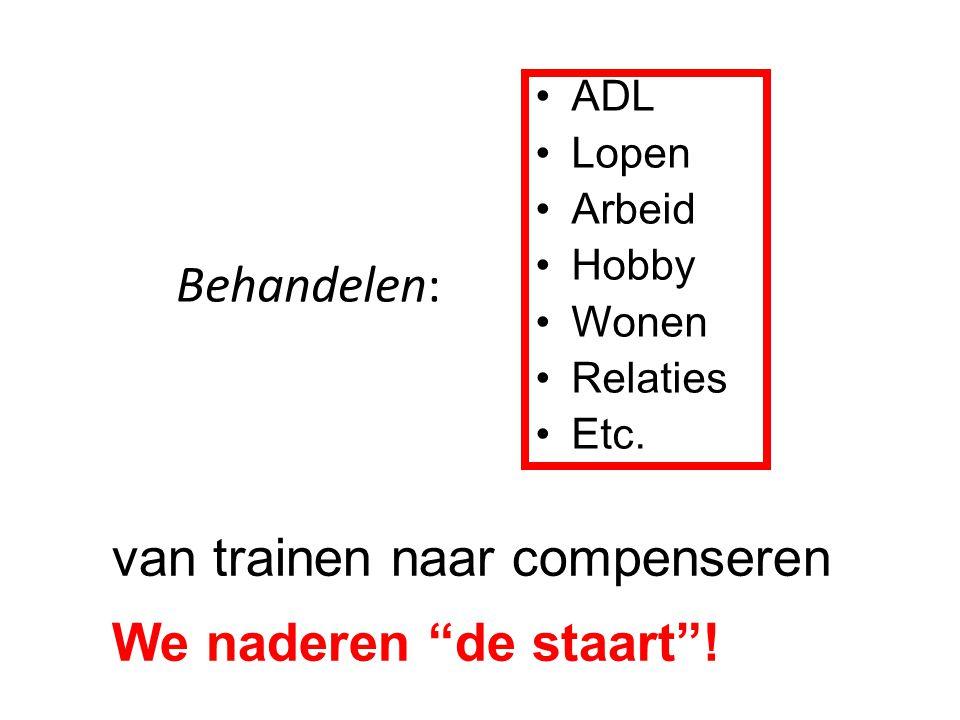 """Behandelen: van trainen naar compenseren We naderen """"de staart""""! ADL Lopen Arbeid Hobby Wonen Relaties Etc."""