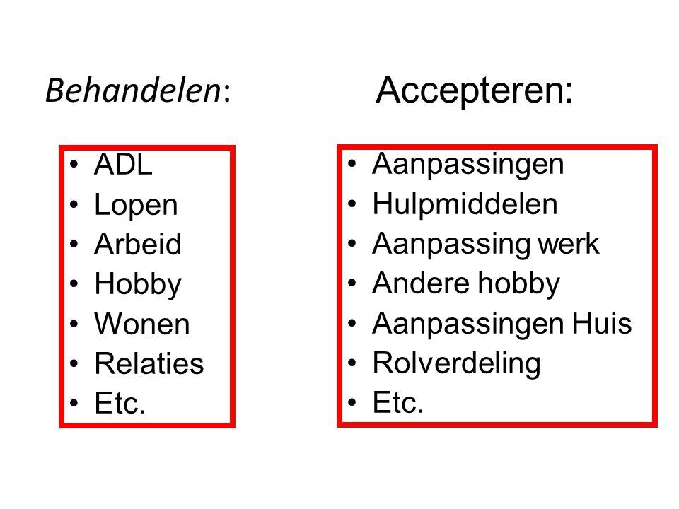 Behandelen: ADL Lopen Arbeid Hobby Wonen Relaties Etc. Accepteren: Aanpassingen Hulpmiddelen Aanpassing werk Andere hobby Aanpassingen Huis Rolverdeli