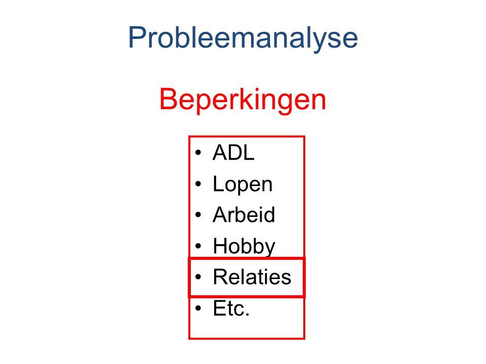 Beperkingen ADL Lopen Arbeid Hobby Relaties Etc. Probleemanalyse