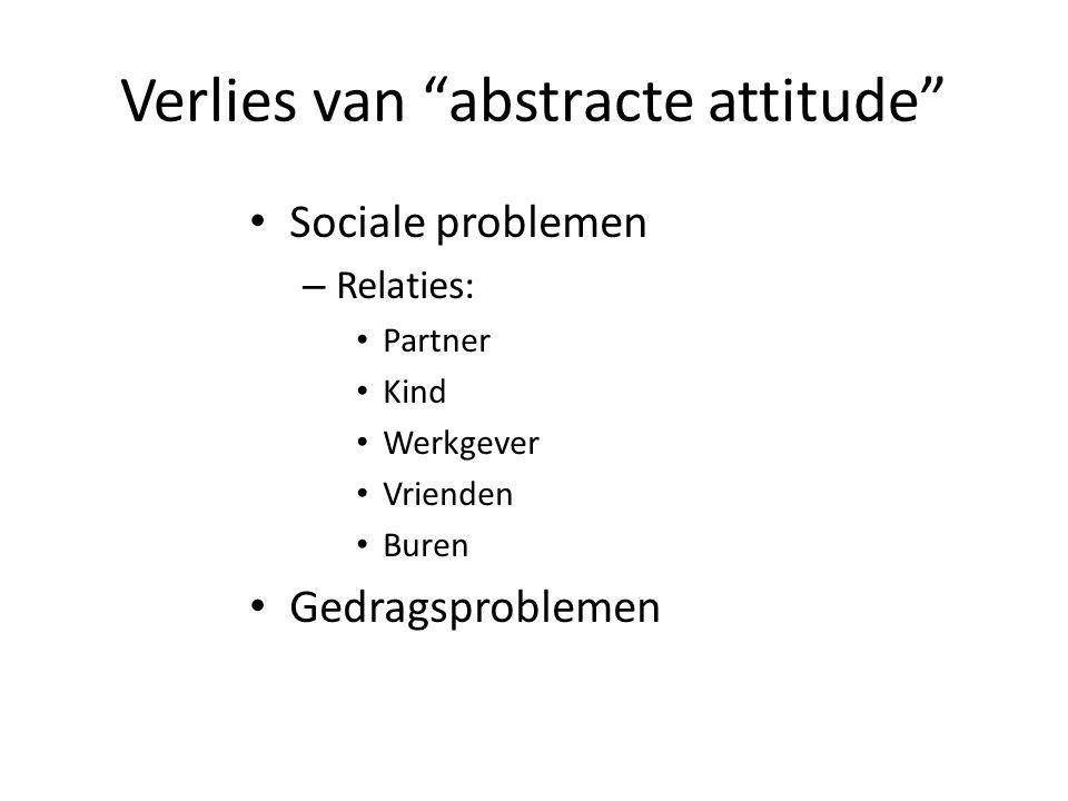 """Verlies van """"abstracte attitude"""" Sociale problemen – Relaties: Partner Kind Werkgever Vrienden Buren Gedragsproblemen"""