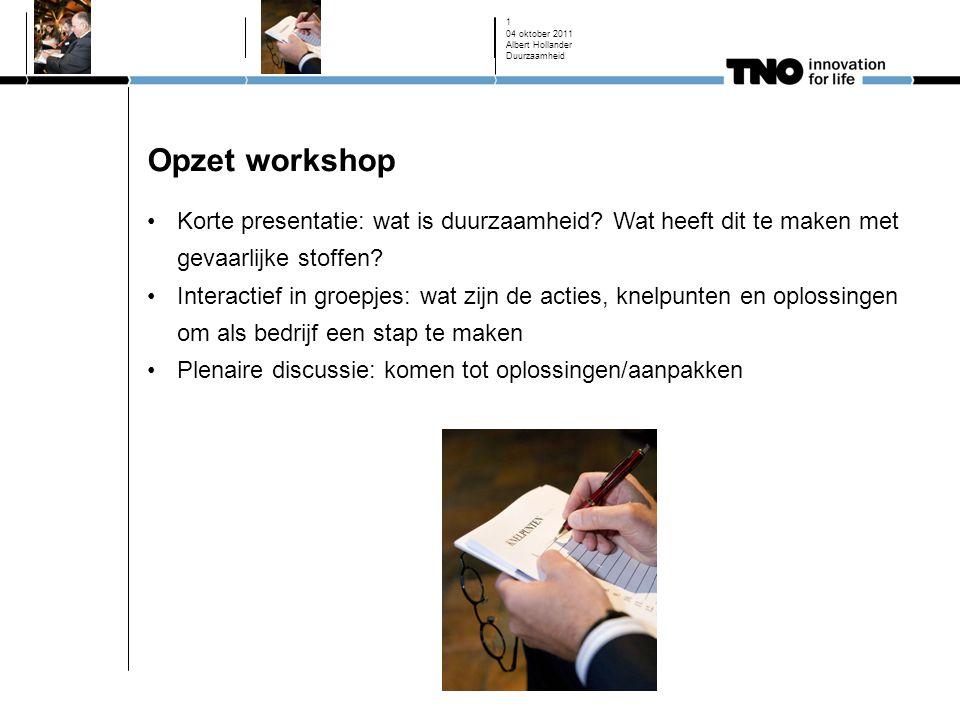 Opzet workshop Korte presentatie: wat is duurzaamheid.