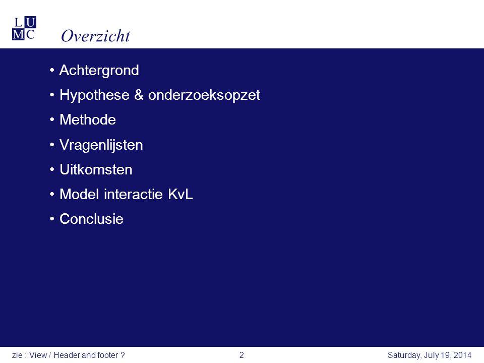 Overzicht Achtergrond Hypothese & onderzoeksopzet Methode Vragenlijsten Uitkomsten Model interactie KvL Conclusie Saturday, July 19, 2014zie : View /