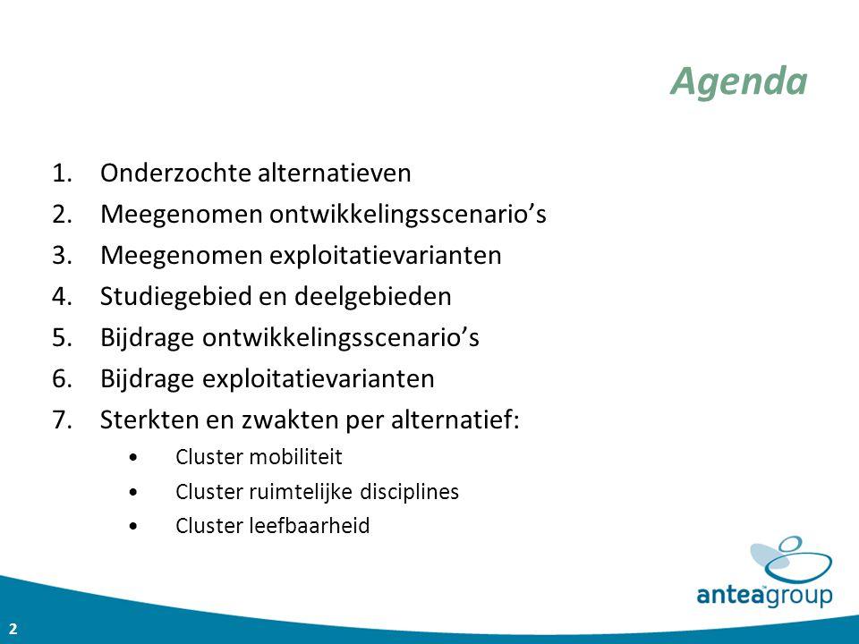 Agenda 1.Onderzochte alternatieven 2.Meegenomen ontwikkelingsscenario's 3.Meegenomen exploitatievarianten 4.Studiegebied en deelgebieden 5.Bijdrage on