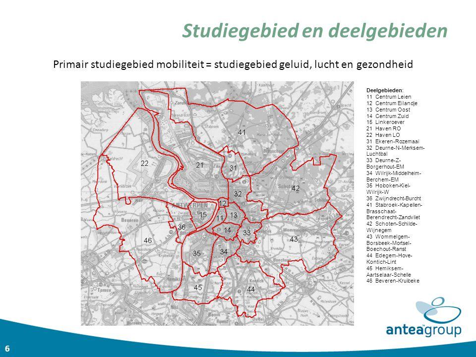 6 Studiegebied en deelgebieden Primair studiegebied mobiliteit = studiegebied geluid, lucht en gezondheid Deelgebieden: 11 Centrum Leien 12 Centrum Ei