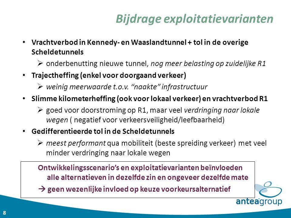 8 Vrachtverbod in Kennedy- en Waaslandtunnel + tol in de overige Scheldetunnels  onderbenutting nieuwe tunnel, nog meer belasting op zuidelijke R1 Tr