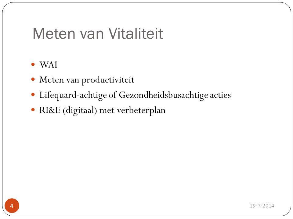Meten van Vitaliteit WAI Meten van productiviteit Lifequard-achtige of Gezondheidsbusachtige acties RI&E (digitaal) met verbeterplan 19-7-2014 4