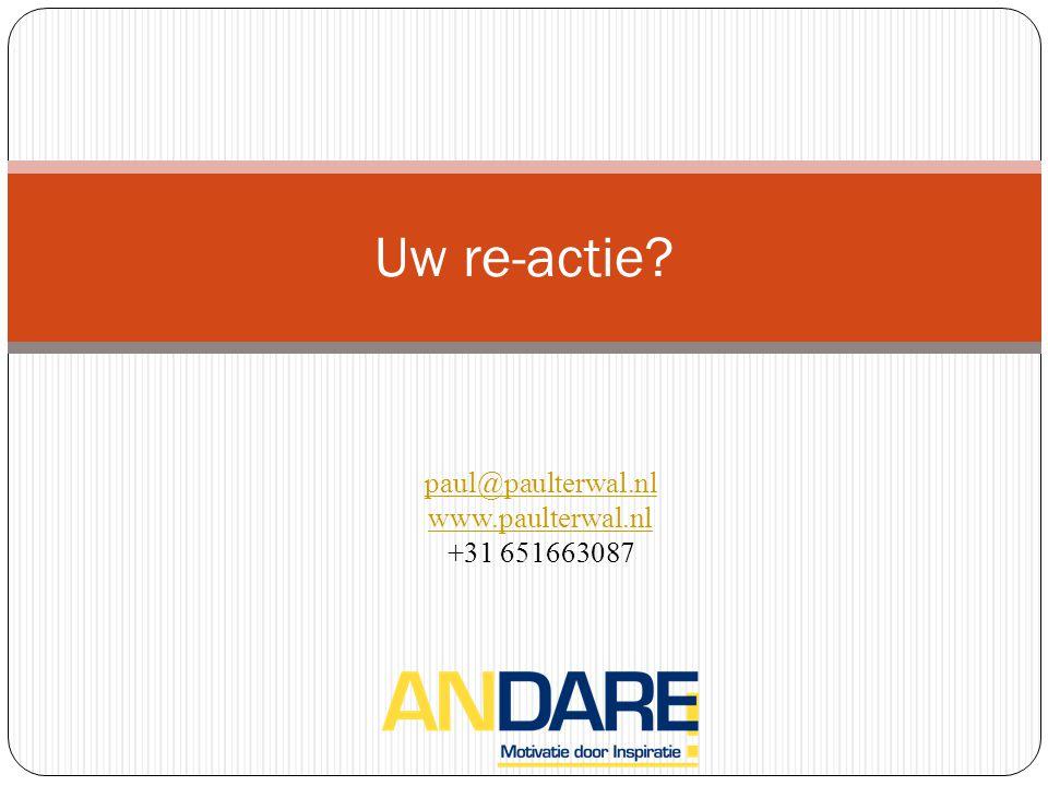 Uw re-actie? paul@paulterwal.nl www.paulterwal.nl +31 651663087