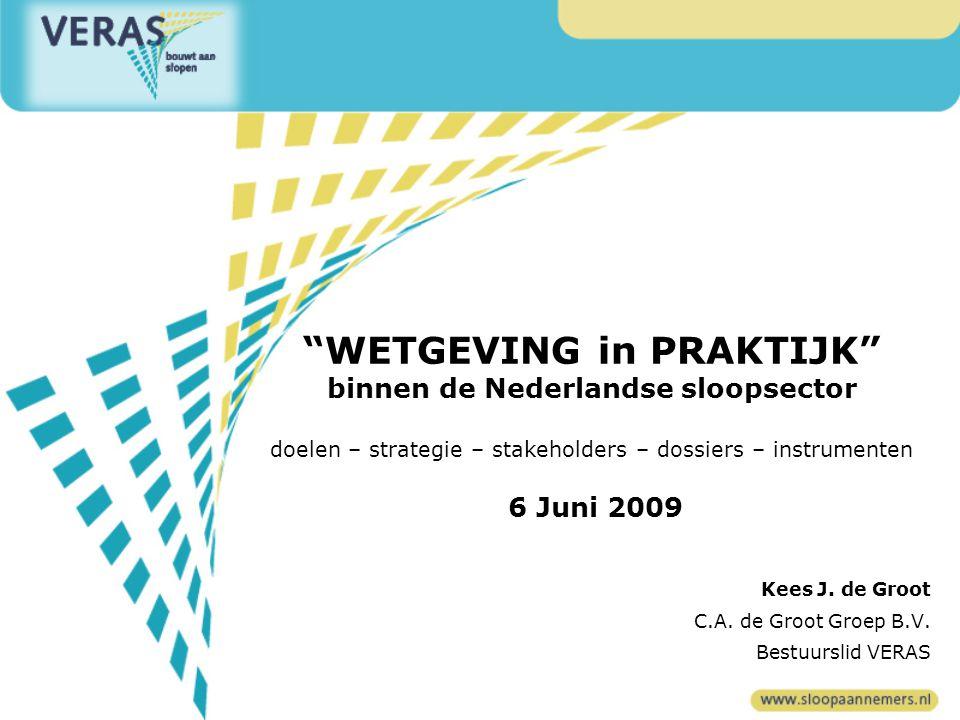WETGEVING in PRAKTIJK binnen de Nederlandse sloopsector doelen – strategie – stakeholders – dossiers – instrumenten 6 Juni 2009 Kees J.