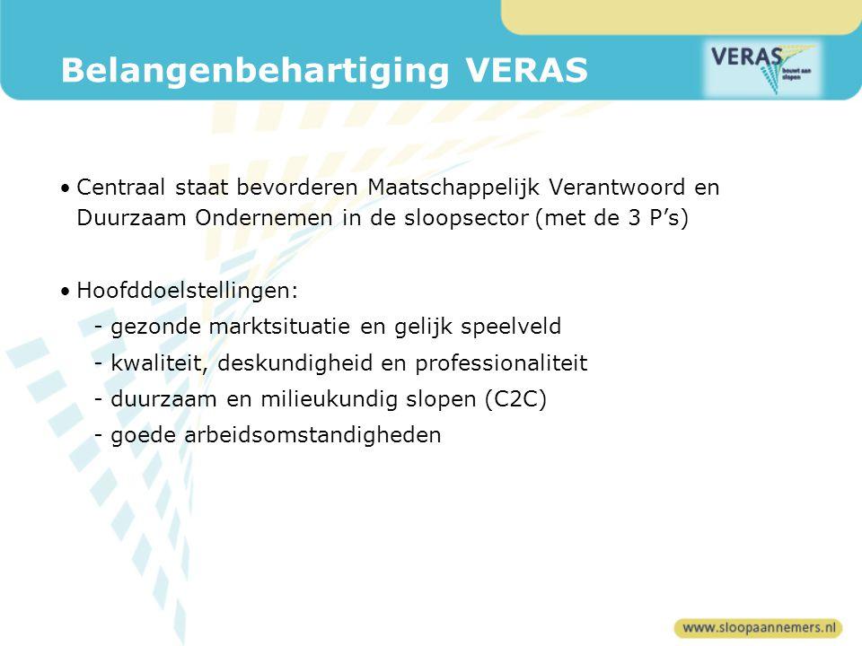 Belangenbehartiging VERAS Centraal staat bevorderen Maatschappelijk Verantwoord en Duurzaam Ondernemen in de sloopsector (met de 3 P's) Hoofddoelstellingen: -gezonde marktsituatie en gelijk speelveld -kwaliteit, deskundigheid en professionaliteit -duurzaam en milieukundig slopen (C2C) -goede arbeidsomstandigheden