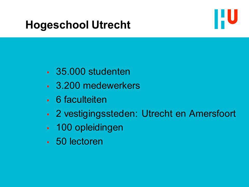 Hogeschool Utrecht  35.000 studenten  3.200 medewerkers  6 faculteiten  2 vestigingssteden: Utrecht en Amersfoort  100 opleidingen  50 lectoren