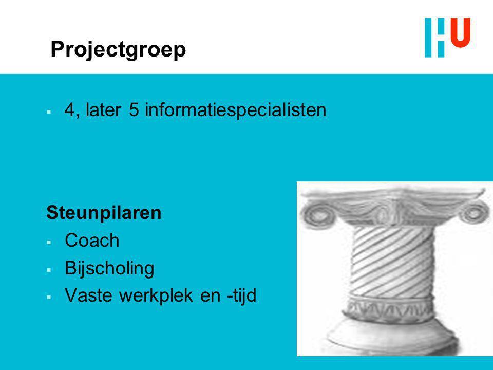 Projectgroep  4, later 5 informatiespecialisten Steunpilaren  Coach  Bijscholing  Vaste werkplek en -tijd