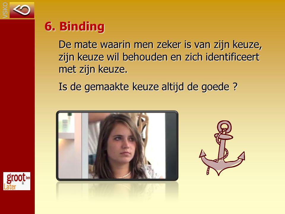 6. Binding De mate waarin men zeker is van zijn keuze, zijn keuze wil behouden en zich identificeert met zijn keuze. Is de gemaakte keuze altijd de go