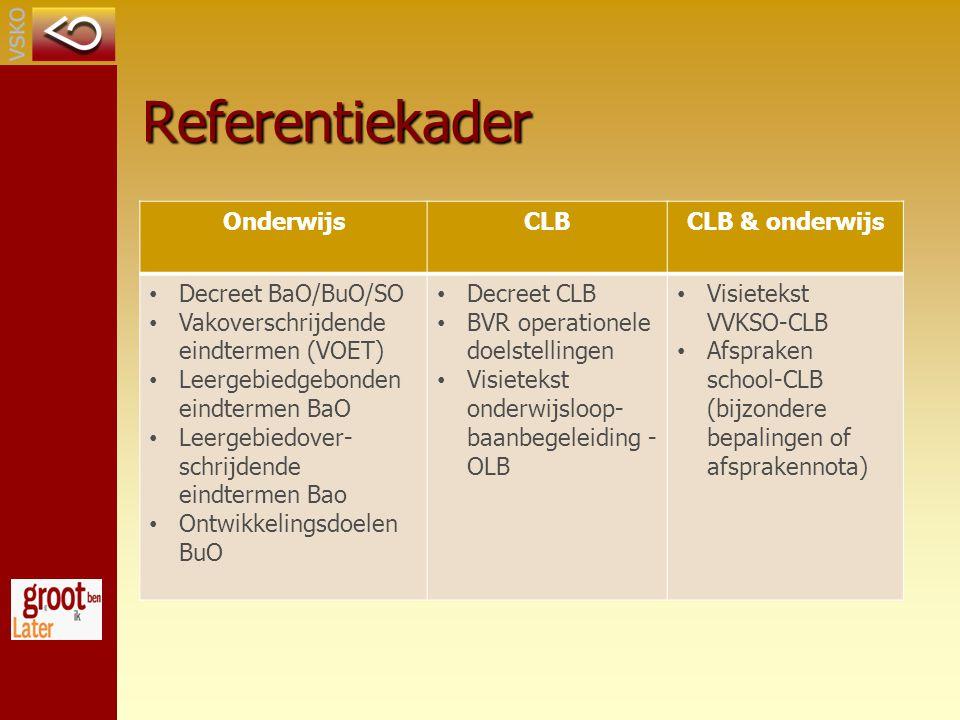 Referentiekader OnderwijsCLBCLB & onderwijs Decreet BaO/BuO/SO Vakoverschrijdende eindtermen (VOET) Leergebiedgebonden eindtermen BaO Leergebiedover- schrijdende eindtermen Bao Ontwikkelingsdoelen BuO Decreet CLB BVR operationele doelstellingen Visietekst onderwijsloop- baanbegeleiding - OLB Visietekst VVKSO-CLB Afspraken school-CLB (bijzondere bepalingen of afsprakennota)