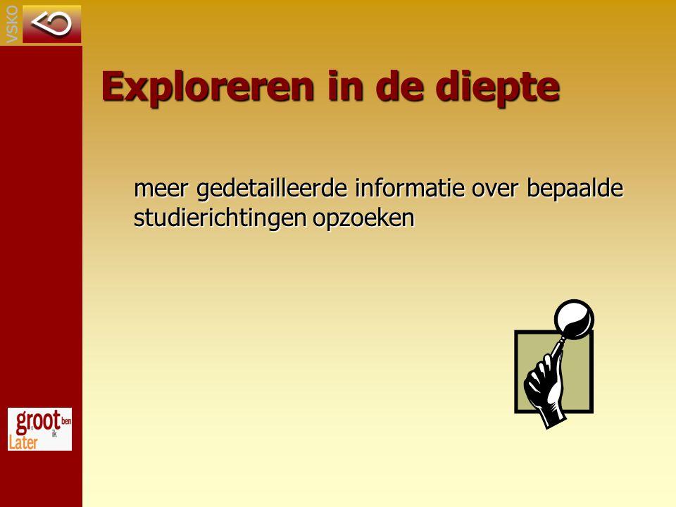 Exploreren in de diepte meer gedetailleerde informatie over bepaalde studierichtingen opzoeken