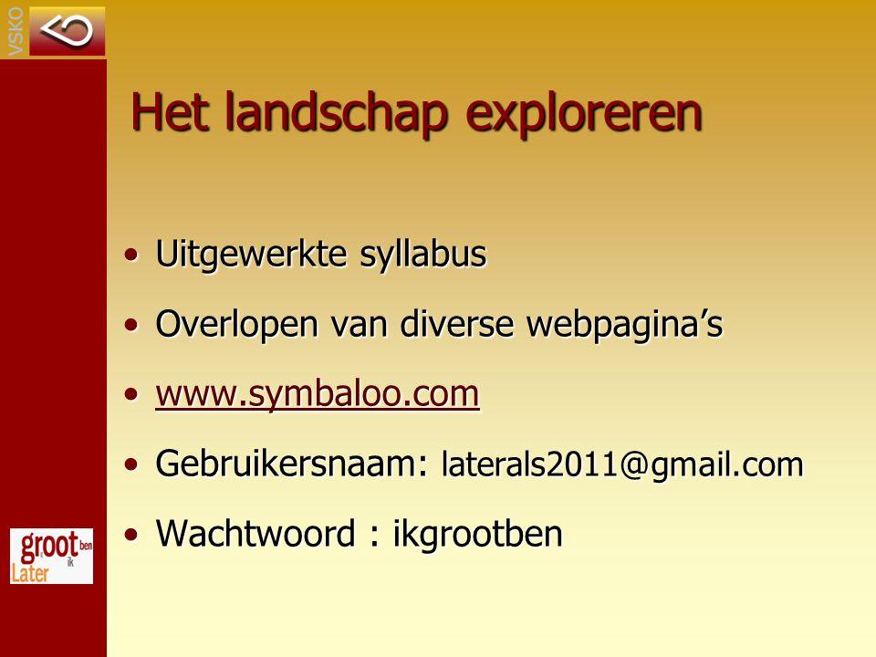 Het landschap exploreren Uitgewerkte syllabusUitgewerkte syllabus Overlopen van diverse webpagina'sOverlopen van diverse webpagina's www.symbaloo.comwww.symbaloo.comwww.symbaloo.com Gebruikersnaam: laterals2011@gmail.comGebruikersnaam: laterals2011@gmail.com Wachtwoord : ikgrootbenWachtwoord : ikgrootben