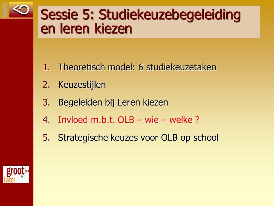 Sessie 5: Studiekeuzebegeleiding en leren kiezen 1.Theoretisch model: 6 studiekeuzetaken 2.Keuzestijlen 3.Begeleiden bij Leren kiezen 4.Invloed m.b.t.