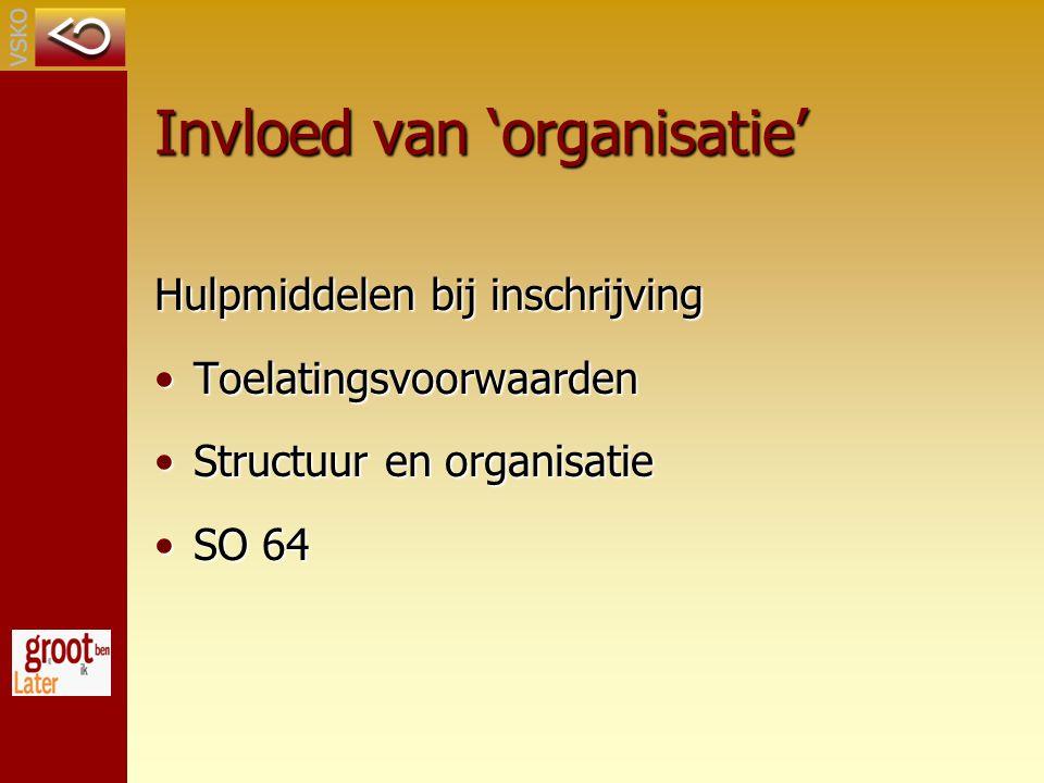 Invloed van 'organisatie' Hulpmiddelen bij inschrijving ToelatingsvoorwaardenToelatingsvoorwaarden Structuur en organisatieStructuur en organisatie SO 64SO 64