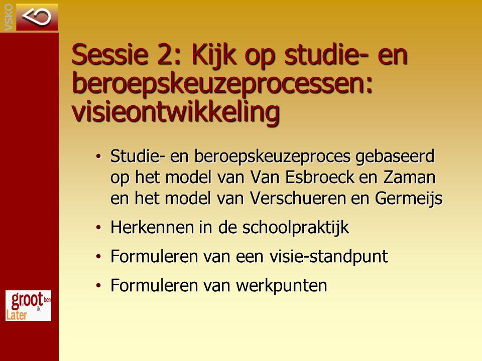 Sessie 2: Kijk op studie- en beroepskeuzeprocessen: visieontwikkeling Studie- en beroepskeuzeproces gebaseerd op het model van Van Esbroeck en Zaman en het model van Verschueren en Germeijs Studie- en beroepskeuzeproces gebaseerd op het model van Van Esbroeck en Zaman en het model van Verschueren en Germeijs Herkennen in de schoolpraktijk Herkennen in de schoolpraktijk Formuleren van een visie-standpunt Formuleren van een visie-standpunt Formuleren van werkpunten Formuleren van werkpunten