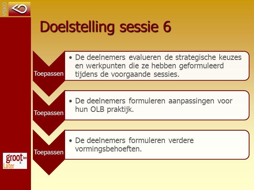 Doelstelling sessie 6 Toepassen De deelnemers evalueren de strategische keuzes en werkpunten die ze hebben geformuleerd tijdens de voorgaande sessies.