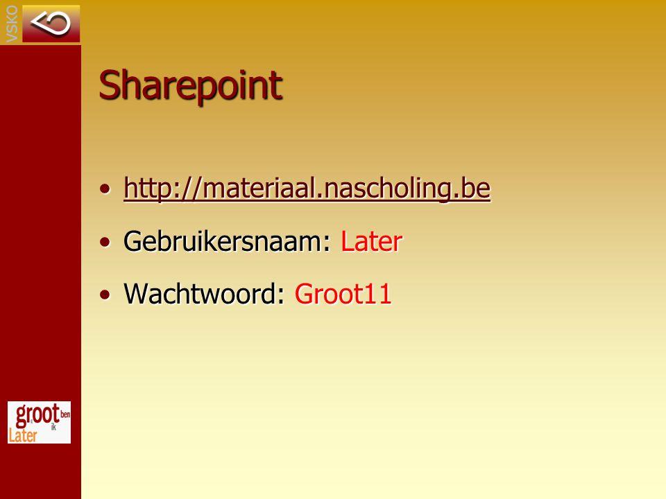 Sharepoint http://materiaal.nascholing.behttp://materiaal.nascholing.behttp://materiaal.nascholing.be Gebruikersnaam: LaterGebruikersnaam: Later Wachtwoord: Groot11Wachtwoord: Groot11