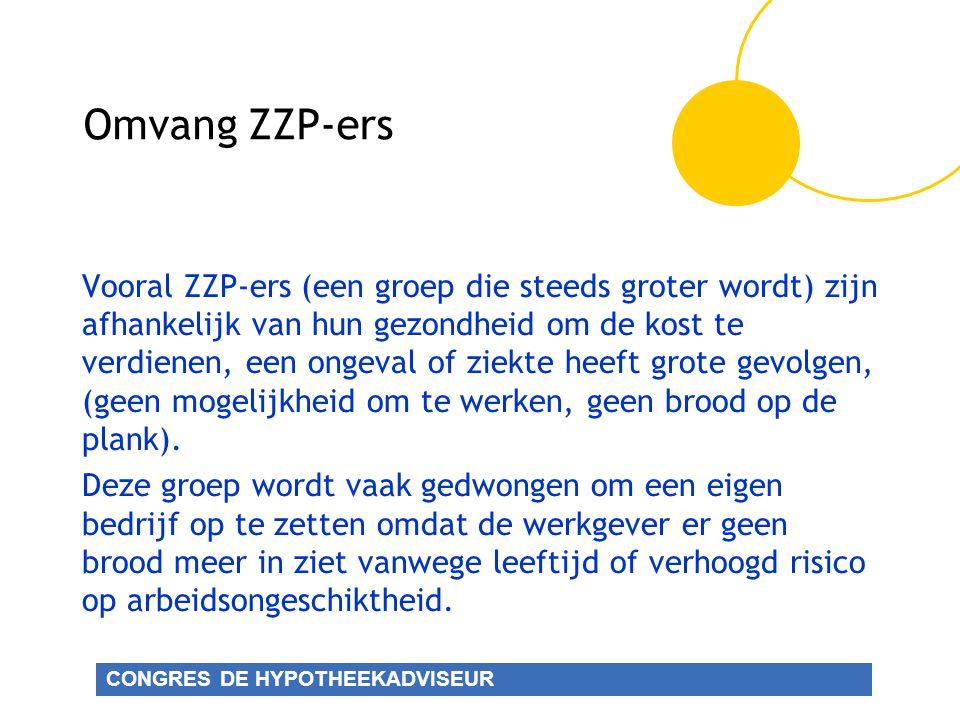 CONGRES DE HYPOTHEEKADVISEUR Omvang ZZP-ers Vooral ZZP-ers (een groep die steeds groter wordt) zijn afhankelijk van hun gezondheid om de kost te verdienen, een ongeval of ziekte heeft grote gevolgen, (geen mogelijkheid om te werken, geen brood op de plank).