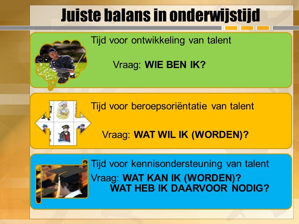 Juiste balans in onderwijstijd Tijd voor ontwikkeling van talent Vraag: WIE BEN IK? Tijd voor beroepsoriëntatie van talent Vraag: WAT WIL IK (WORDEN)?