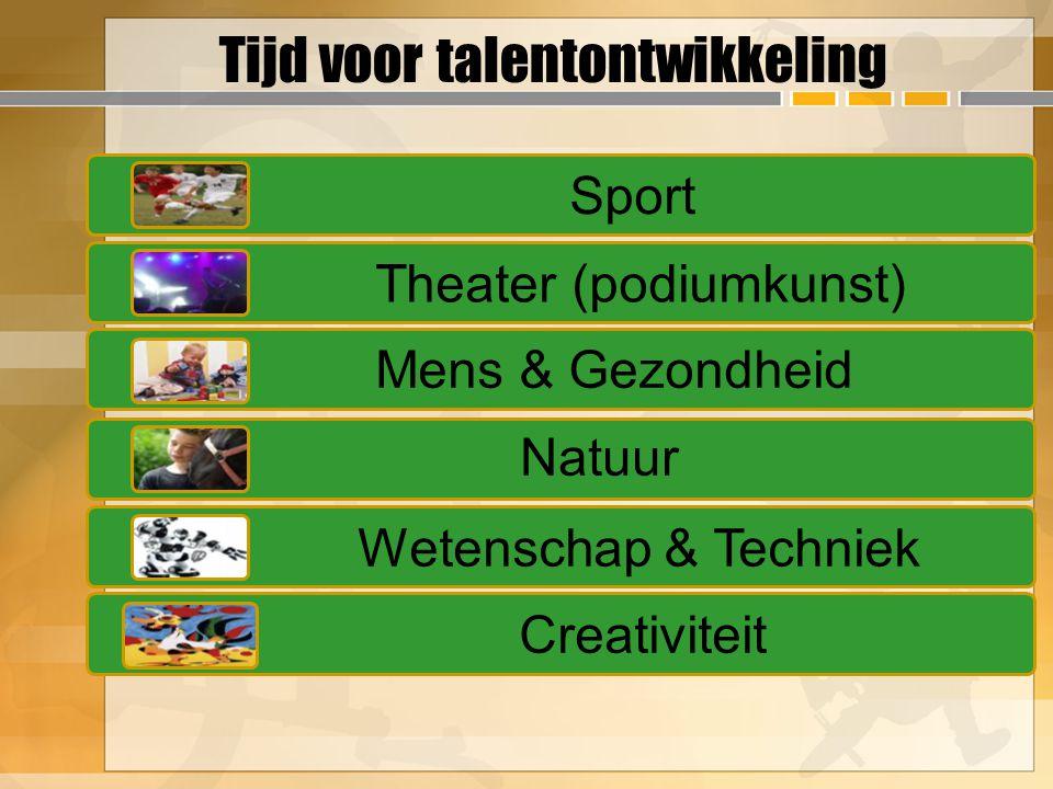 Tijd voor talentontwikkeling Sport Theater (podiumkunst) Mens & Gezondheid Natuur Wetenschap & Techniek Creativiteit