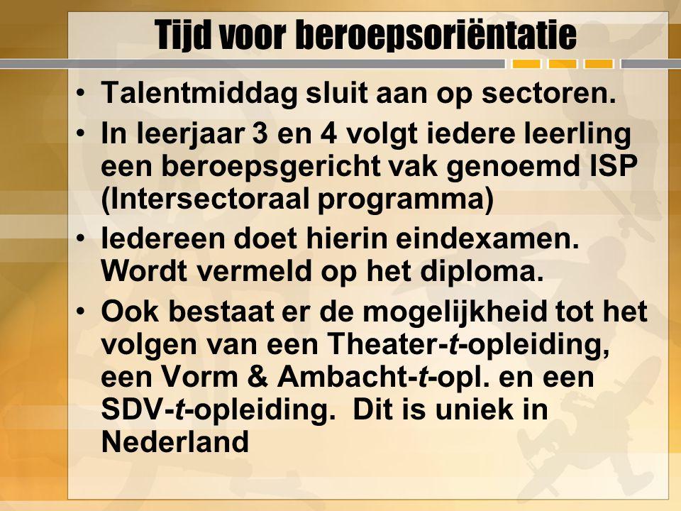 Tijd voor beroepsoriëntatie Talentmiddag sluit aan op sectoren. In leerjaar 3 en 4 volgt iedere leerling een beroepsgericht vak genoemd ISP (Intersect