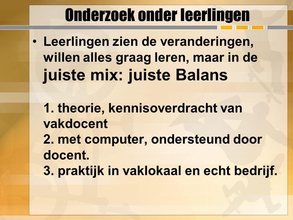 Onderzoek onder leerlingen Leerlingen zien de veranderingen, willen alles graag leren, maar in de juiste mix: juiste Balans 1.