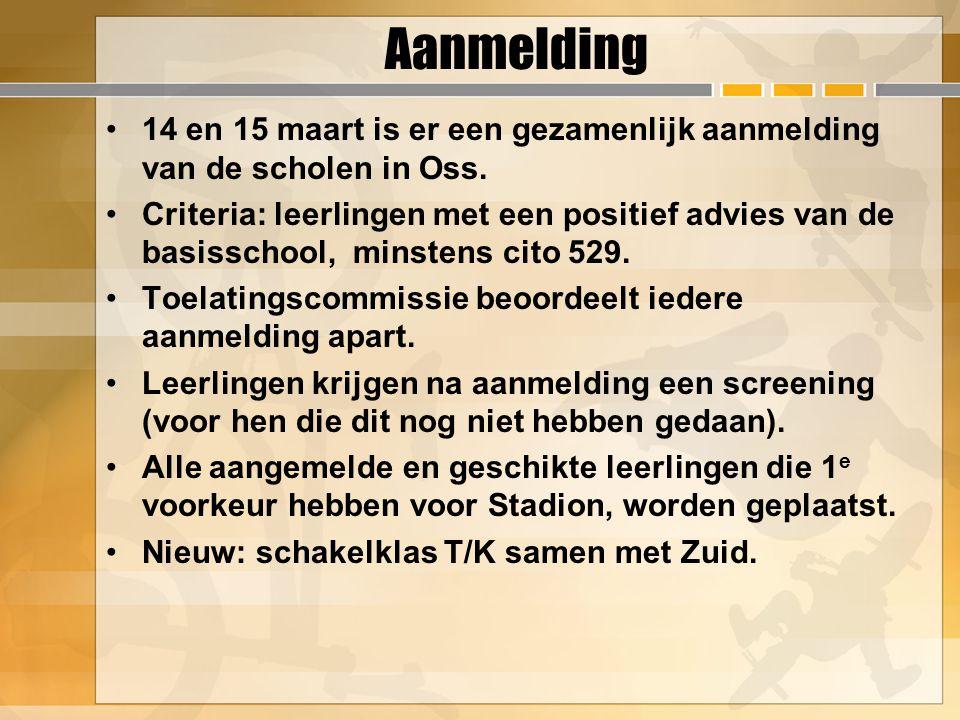 Aanmelding 14 en 15 maart is er een gezamenlijk aanmelding van de scholen in Oss. Criteria: leerlingen met een positief advies van de basisschool, min