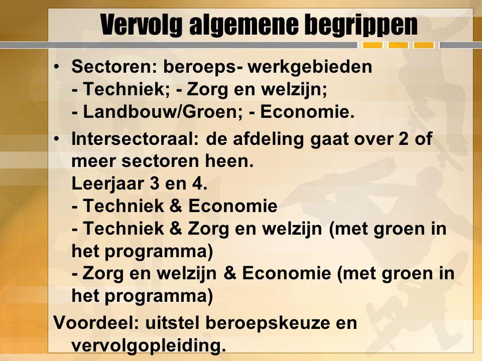 Vervolg algemene begrippen Sectoren: beroeps- werkgebieden - Techniek; - Zorg en welzijn; - Landbouw/Groen; - Economie.
