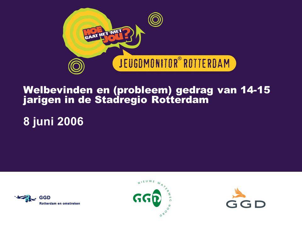 Welbevinden en (probleem) gedrag van 14-15 jarigen in de Stadregio Rotterdam 8 juni 2006 De Jeugdmonitor ® is een initiatief van GGD Rotterdam en omstreken
