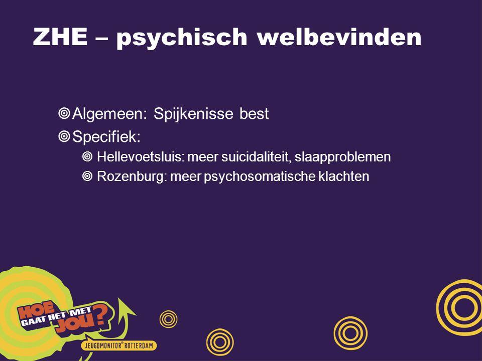 ZHE – psychisch welbevinden  Algemeen: Spijkenisse best  Specifiek:  Hellevoetsluis: meer suicidaliteit, slaapproblemen  Rozenburg: meer psychosomatische klachten
