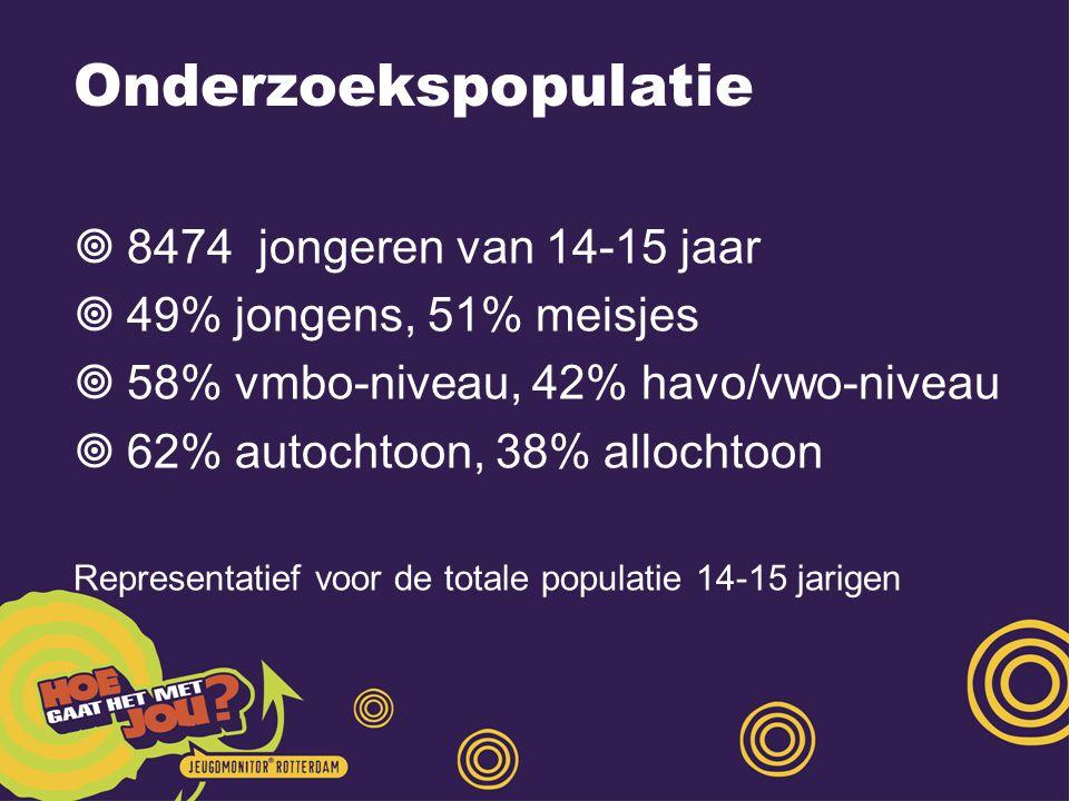 Onderzoekspopulatie  8474 jongeren van 14-15 jaar  49% jongens, 51% meisjes  58% vmbo-niveau, 42% havo/vwo-niveau  62% autochtoon, 38% allochtoon Representatief voor de totale populatie 14-15 jarigen